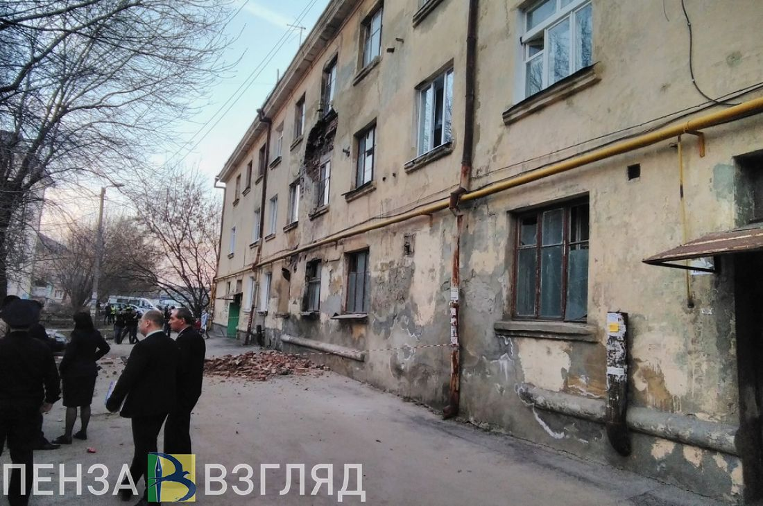 Появилось видео с места обрушения кирпичной кладки в пензенском общежитии